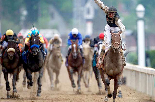 2009 Kentucky Derby finish line with leading jockey Calvin Borel
