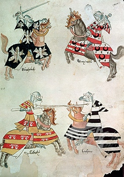 Jousting knights from Sir Thomas Holmes' book, circa 15th century