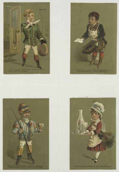 Here is a card (c. 1876-90) depicting children dressed up in various professionals. Note that the jockey is included in an all-working-class / subservant lineup: coachman, concierge, and maid.