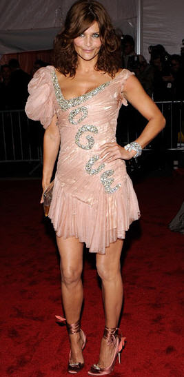 Helena Christensen at Met Costume gala, 2009, doing her own shilling for Vogue