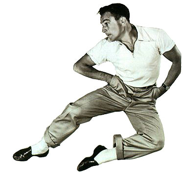 Gene Kelly in loafers and rolled pants